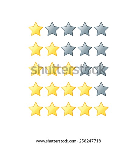 Simple rounded star rating. With outlines makes the stars pop out from background - stock photo
