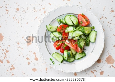 Simple Salad of Fresh Vegetables Vegan Food Top View - stock photo