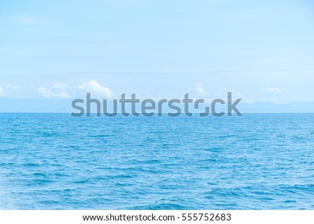 Simple sea and blue sky, clear sky and wave