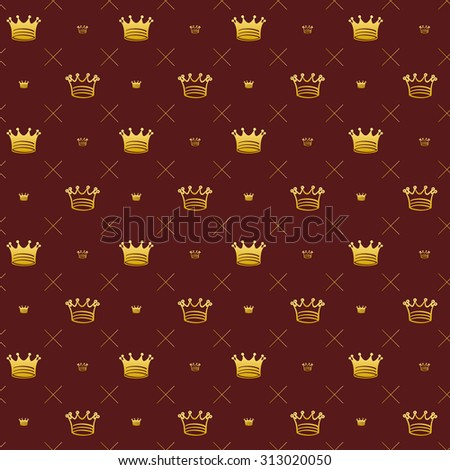 Simple seamless pattern with crown symbol art decoration - stock photo