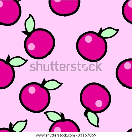 Simple seamless pink apples background - stock photo