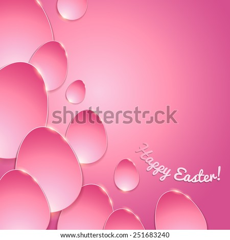 Simple shiny flat eggs on gradient background - pink color. Good for Easter design. - stock photo