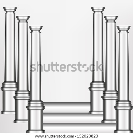 simple silver model of the old greek column in an abstract arrangement on illustration.  bitmap