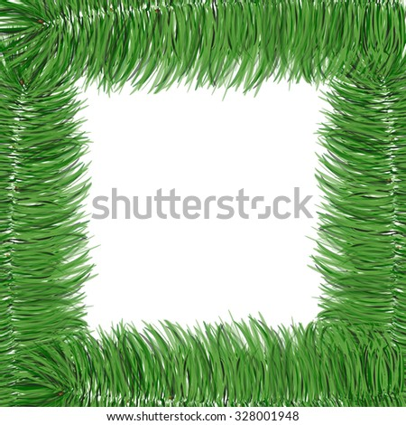 Simple spruce branches frame isolated on white. Evergreen branches. New Year symbol. raster illustration. Winter picture can be used for postcard, invitation, web design, banner. Green spruce. - stock photo