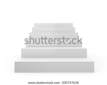 Simple Stairs From Front View In Perspective Isolated On White