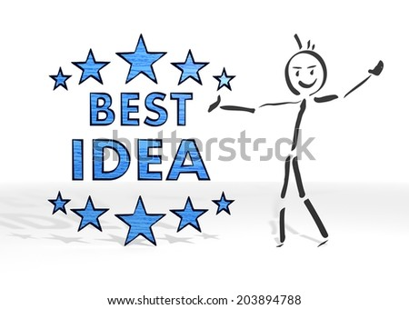 simple stick man presents a best idea sign white background - stock photo