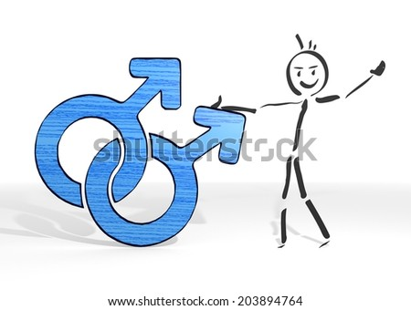 simple stick man presents a homosexual sign white background - stock photo