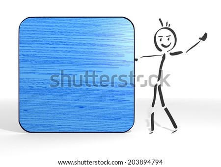 simple stick man presents a rectangle sign white background - stock photo