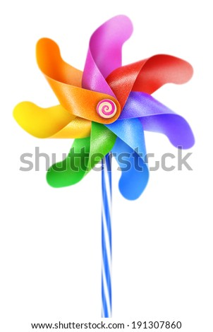 Simple traditional mechanics, air movement, wind power moves. Fun, colorful children's game, a decorative garden ornament. - stock photo