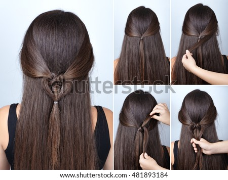 Hairstyle stock images royalty free images vectors shutterstock simple twisted hairstyle heart with scrunchy tutorial hairstyle for long hair for valentines day urmus Choice Image