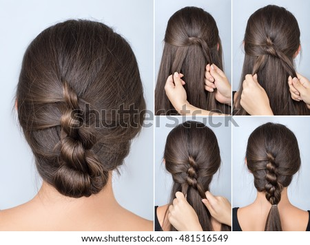Hair Style Simple Twisted Hairstyle Tutorial Easy Hairstyle Stock Photo .
