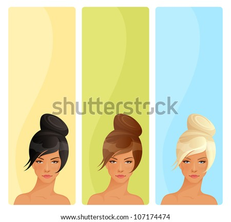 simple vertical banners with beautiful women suitable for hair salon or feminine theme website - stock photo