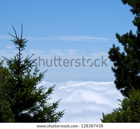 Simple view of tops of clouds from the top of a mountain - stock photo