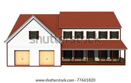 simple villa isolated on white