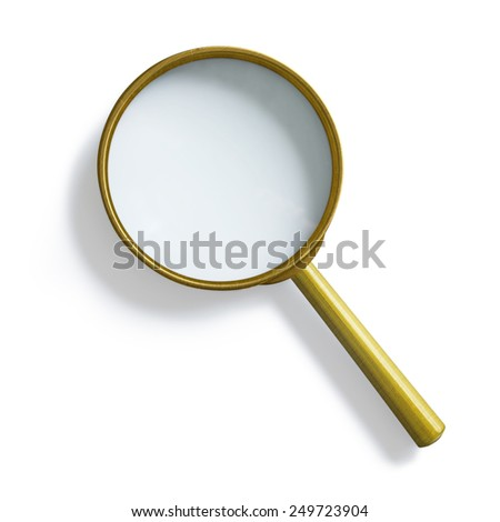 Simple vintage brass magnifying glass isolated with clipping path included - stock photo