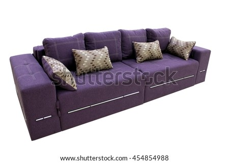 Simple violet fabric sofa with pillows