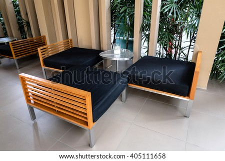 simple waiting table set at the lobby. - stock photo
