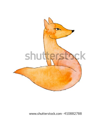 Simple watercolor sketch. Red fox on a white background - stock photo