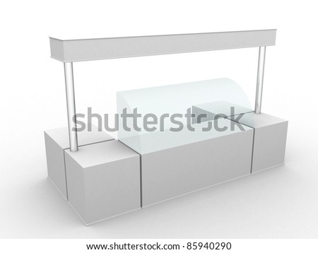 Simple white promotion counter for ice cream. 3D rendered image