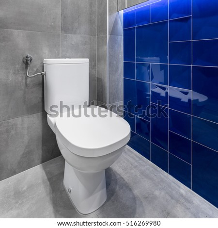 Simple white toilet in modern bathroom with stylish tiles in grey and blue