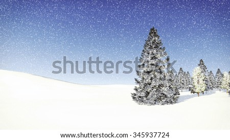 Simple winter scenery with snowy fir trees among snowdrifts at snowfall day. Decorative 3D illustration was done from my own 3D rendering file. - stock photo