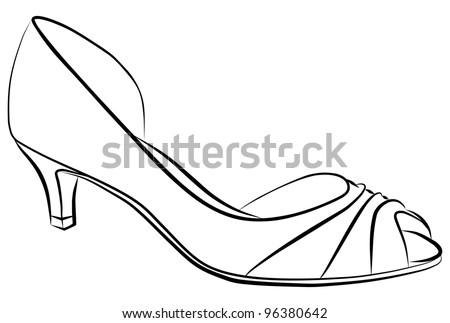 simple woman shoe - silhouette on a white background - stock photo