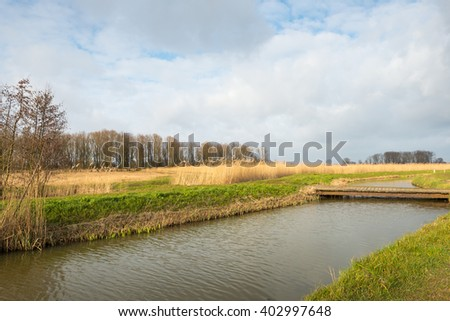 Simple wooden bridge made of planks bridges a small creek in a Dutch nature reserve on an cloudy day at the beginning of spring. - stock photo