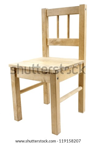 Simple wooden chair isolated on white background