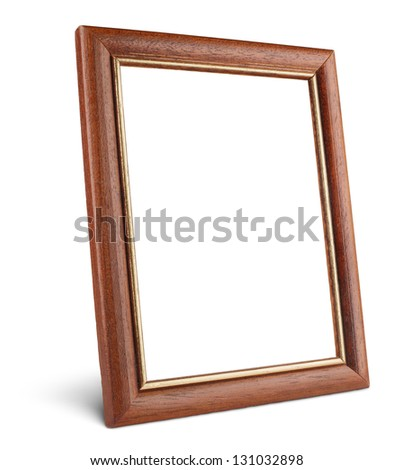 Simple wooden picture frame isolated on white with clipping path - stock photo