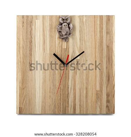 Simple wooden wall watch with owl - Square clock isolated on white background - stock photo
