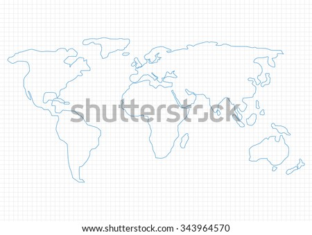 Simple World Map on graph paper, Raster copy - stock photo