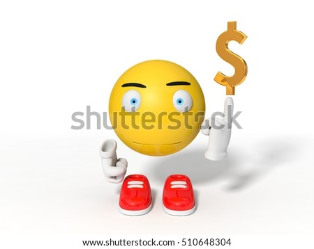 simple yellow smiley ball character point out dollar symbol. isolated on white. 3d illustration.