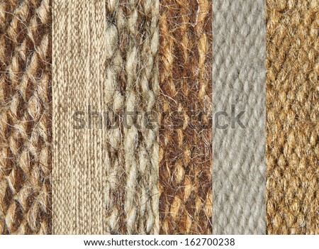 Simples of camel wool fabric texture pattern collage as background. - stock photo