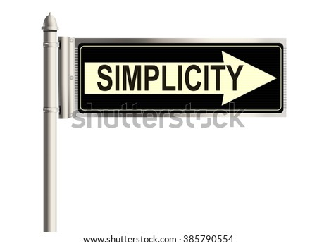 Simplicity. Road sign on the white background. Raster illustration.