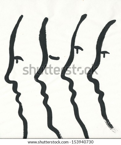Simplified faces, side view - black and white painting