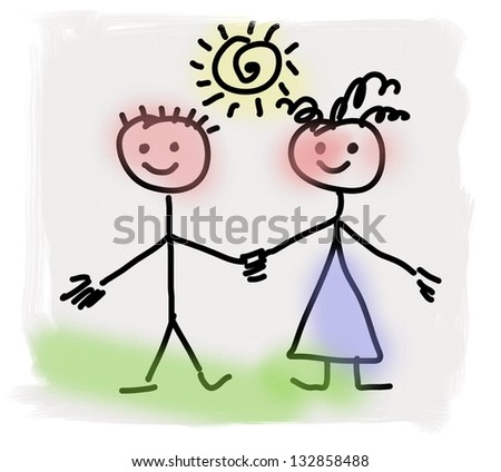 simplified hand drawn boy and girl, doodle children drawing