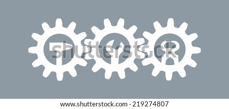 simplified sign made of gear wheels and tools