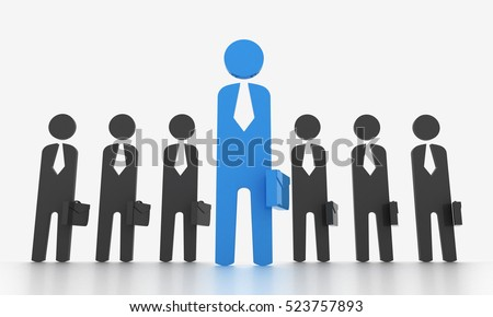 Simplify character of business man reflect a leadership. Isolated with white background.