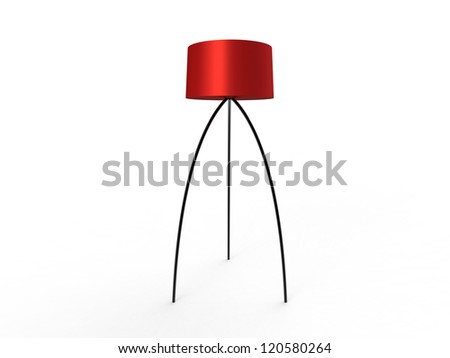 Simplistic Floor Lamp with red shade isolated on a white background - stock photo