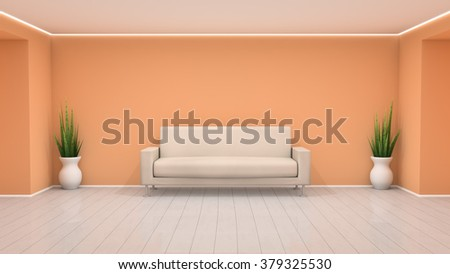 Simplistic room design 3D interior illustration with colored wall, sofa, plants and white wooden floor