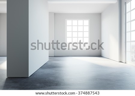 Simply loft style empty interior space. 3d rendering