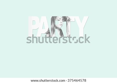 simply party background with letters and girl photo combined - stock photo