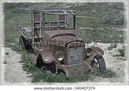 Simulated early photograph of a vintage , abandoned American pick up truck