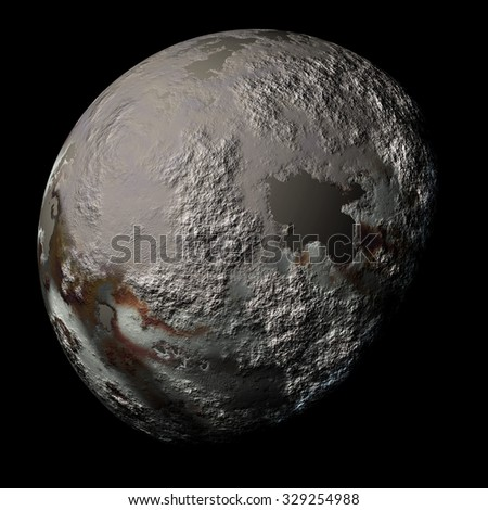 Simulated planet with texture surface on black - stock photo