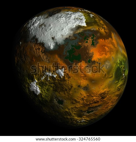 Simulated planet with texture surface on black background - stock photo