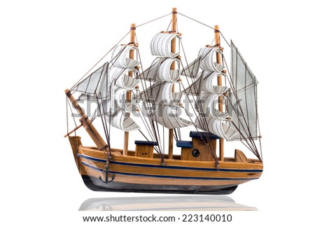 Simulation brig is for the sacred isolated on white background with clipping path - stock photo