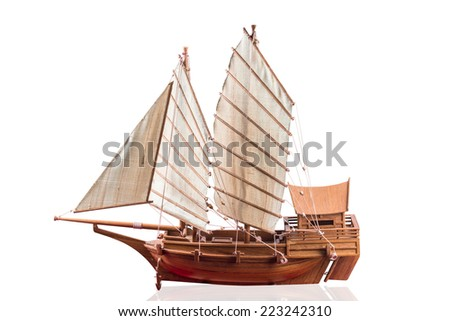 Simulation  junk boat is for the sacred isolated on white background with clipping path - stock photo