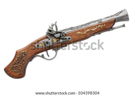 Simulation of an old Spanish gun on a white background - stock photo