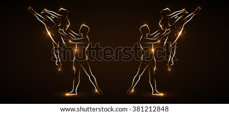 Simultaneous performance of two pairs of ballet. Two male dancers partner support for waist while performing a jump. Two ballet dancers floating in the air. Silhouette dancers with light outline. Icon - stock photo
