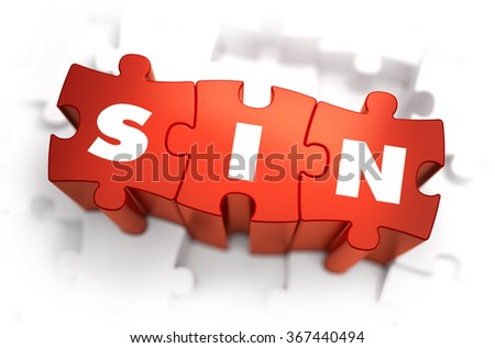 Sin - Text on Red Puzzles with White Background. 3D Render.  - stock photo